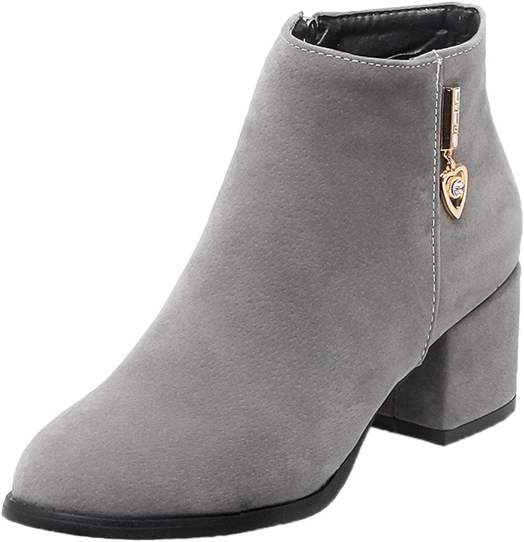 HooH Women Ankle Boots Suede Kitten Heel Rhinestone Short Chelsea Boots
