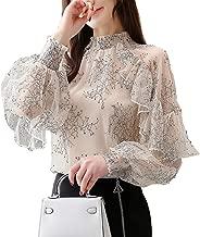 SansoiSan Womens Lace Chiffon Blouses Long Sleeve Turtleneck Elegant Patchwork Ruffles Chic Tops