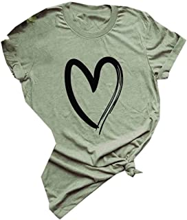 Doufine Womens Cozy Hearts Printed Short Sleeves Blouse Plain Tee Shirt