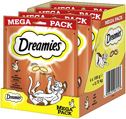 Dreamies Klassiker Katzensnacks mit Huhn – Katzenleckerli mit knuspriger Textur und cremiger Füllung – 4 x 180g