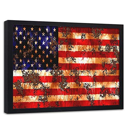 Wanddeko schwarzer Rahmen USA Flagge Wandbild Retro Mehrfarbig 40x30 cm