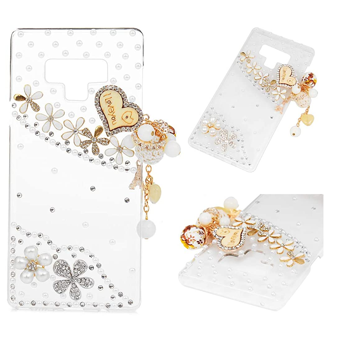 Mavis's Diary Compatible Samsung Galaxy Note 9 Case, Full Edge 3D Handmade Luxury Bling Crytal Fashion Design Shiny Gem Pearl Rhinestone Diamond Clear Hard Protective Plastic PC Cover - Love Tassel