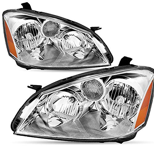Headlight Assembly Set Replacement for 2005/2006 Nissan Altima 4-Door Sedan Black Chrome Headlights with Amber Reflector Driver and Passenger Side Headlamp Front Lights Pair (Chrome)