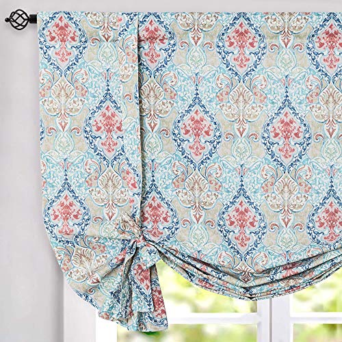 jinchan Burlap Valance Curtains for Kitchen Living Room 45 inches Long Damask Printed Paisly Rod Pocket Drapes Multicolor Medallion Flax Window Curtain 1 Panel Green