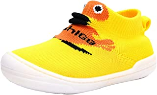 Hopscotch Baby Boys Mesh Cartoon Print Slip Ons in Yellow Color