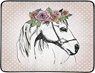 Vector Hand Drawn Portrait of Horse Wearing The Fl Pattern Portable and Foldable Blanket Mat 60x78 Inch Handy Mat for Camping Picnic Beach Indoor Outdoor Travel