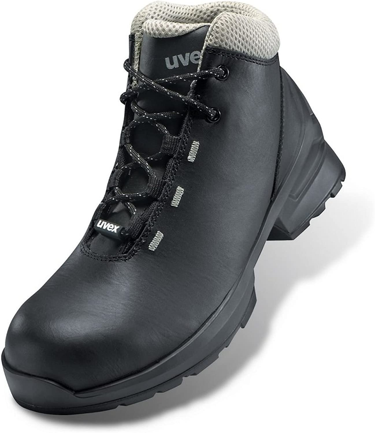 Uvex 1 Black Leather S3 SRC Safety Work Boots Metal-Free ESD Rated
