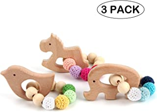 cGy 3 Pack Beech Wooden Teethers Natural Baby Teething Toys, Wood Baby Toys, DIY Soothing Pacifier Charms, Chewable Toy Baby Teething Gift Baby Jewelry of Elephant,Bird,Cockhorse
