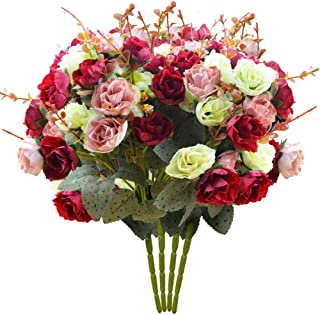 PETAFLOP Rose Flowers Silk Flowers Fake Roses Artificial Flowers Wedding Flowers, Overall Diameter 10 inch Pack of 4 Bunches