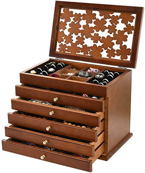 Welcare 100 Solid Wooden Jewelry Box Case Dark Brown