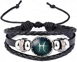 Giwotu Womens Handmade 12 Zodiac Signs Glass Cabochon Braided Leather Bracelets 12 Constellation Men Beaded Charm Punk Style Jewelry