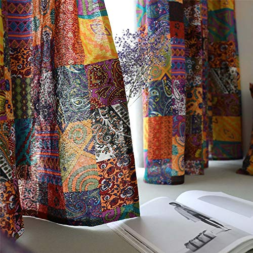 YOU SA 55''Wx85''L Colorful Boho Window Curtains, Retro Country Style Curtains for Living Room, Half Shading, Cotton Linen Fabric (Set of 2,Hook Style)
