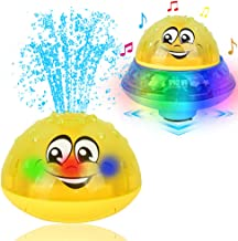 Eutreec Bath Toy, 2 in 1 Squirt Spray Water Toy LED Light Up Float Toys Automatic Induction Sprinkler Space UFO Car Toys for Baby Toddler Infant Kids Bathtub Shower Pool
