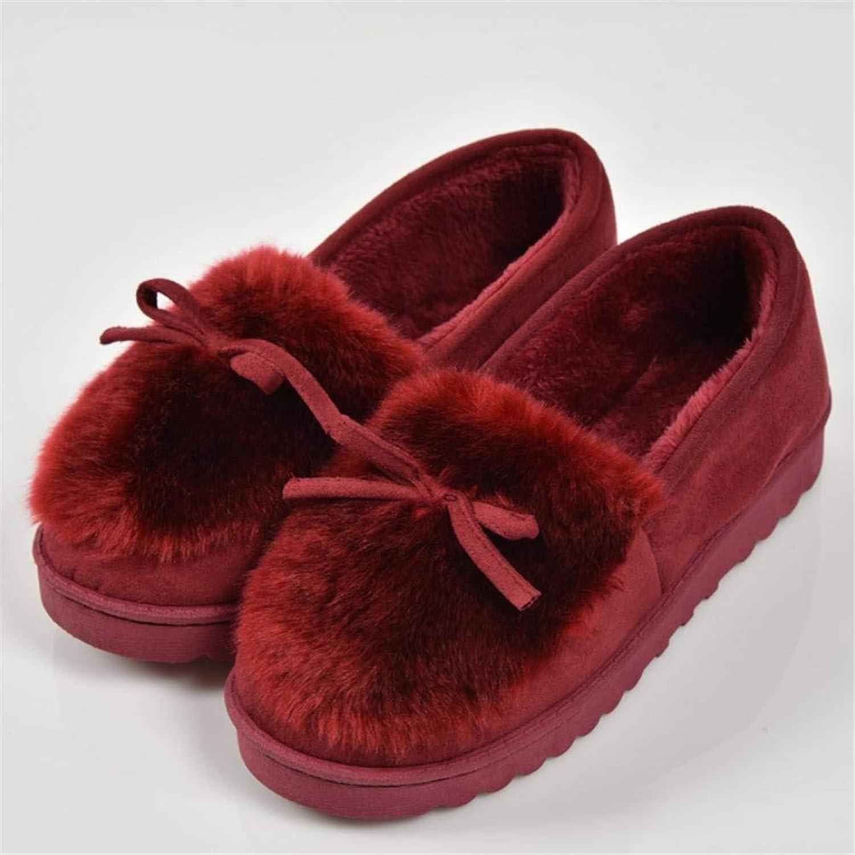 Lady Slippers Ladies Ladies Ladies Casual Slipper Inoor Autumn and Winter Super Soft Plush Warm Bow Dekoration Enkel Solid Solid Basic Comfortable Cotton skor  spara upp till 70%