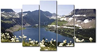 So Crazy Art 5 Piece Wall Art Painting Glacier National Park Lake Snow Mountain Fllower Pictures Prints On Canvas Landscape The Picture Decor Oil for Home Modern Decoration Print for Bedroom