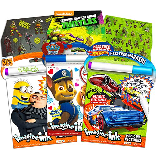 Imagine Ink Coloring Book Bundle Including 3 No Mess Magic Ink Activity Books Featuring Hot Wheels, Paw Patrol, and Despicable Me Minions with 600 Blaze and TMNT Stickers