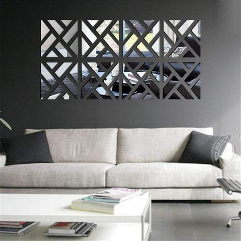 3d Mirror Wall Stickers 4 Pcs Acrylic Square Geometric Pattern Diy Art Decal Self Adhesive Mirror Plastic Wall Sheet Tiles Home Decoration For Living Room Bedroom Stair Wall Decor 8 Pcs Amazon Co Uk