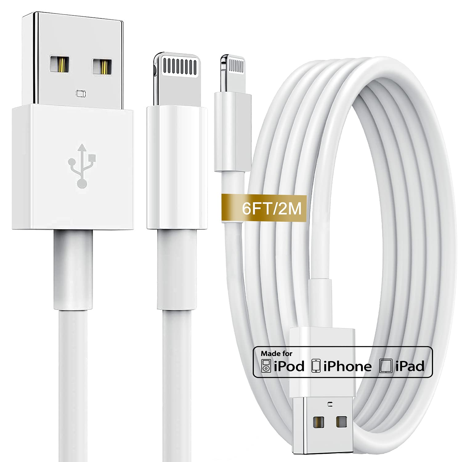 6Ft iPhone Charger Cable (2 Pack), [Apple MFi Certified] Lightning to USB Cable 6 Foot, Fast Charging Cord 6 Feet Compatible with iPhone 12 Mini 11 Pro MAX XS XR X 8 7 6 AirPods iPad etc - White