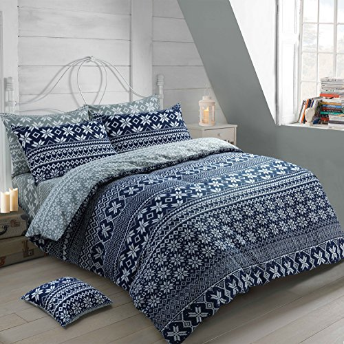 Velosso 100% Cotton Thermal Super Soft Flannelette Brushed Thermal Cotton Nordic Navy Blue/Grey Reversible Quilt Cover Bedding Set Scandinavian (King Size)