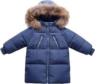 FEOYA Girls Winter Down Coat Puffer Jacket Padded Outerwear with Faux Fur Hood