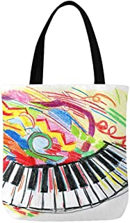InterestPrint Custom Watercolor Piano Music Canvas Tote Bag Handbag Reusable Casual Bookbag Work Travel Shopping Bag
