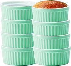 Porcelain Ramekins for Baking, Porcelain Souffle Dish Ramekins Bakeware Set of 8 (8OZ-8PCS, Blue)