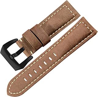 20mm 22mm 24mm 26mm Leather Watch Band Strap Replacement Crazy Horse Handmade Soft Leather Watch Strap