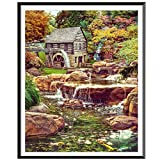 Rakkiss 5D Diamond Painting Rhinestone Dream Forest Cabin River Natural Embroidery Wallpaper DIY Cross Stitch Kit Crystal Full Drill Drawing for Adult Tools Home Decoration 25x30cm White