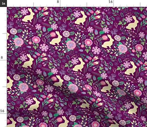 Spoonflower Fabric - Easter Bunnies Raspberry Spring Floral Wine Bunny Rabbit Flowers Printed on Petal Signature Cotton Fabric by The Yard - Sewing Quilting Apparel Crafts Decor