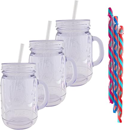 Aladdin (3 Pack) 20oz Plastic Mason Jar Tumbler With Straw and Lid Temperature Control Travel Home