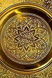 Orientalisches rundes Tablett aus Metall Sidra 30cm | Marokkanisches Teetablett in der Farbe Gold | Orient Goldtablett goldfarbig | Orientalische Dekoration auf dem gedeckten Tisch - 2