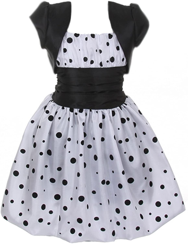 Cinderella Couture Girls Polka Dotted Bubble Dress & Bolero 2 White (1180)
