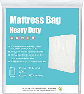 HOMEIDEAS 4 Mil 2 Pack Super Thick Mattress Bags for Moving, Storage or Disposal Queen/King -Heavy Duty & Tear and Puncture Resistant