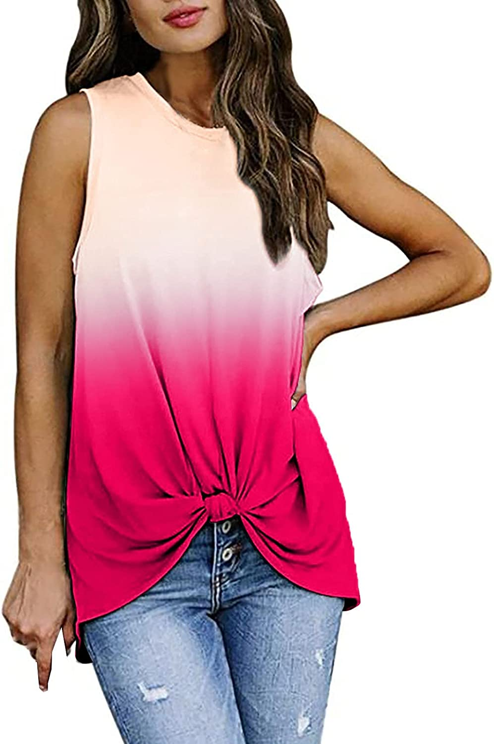 Juniors Women's Round Neck Sleeveless Vest Gradient Color Loose Twisted Tops T-Shirt