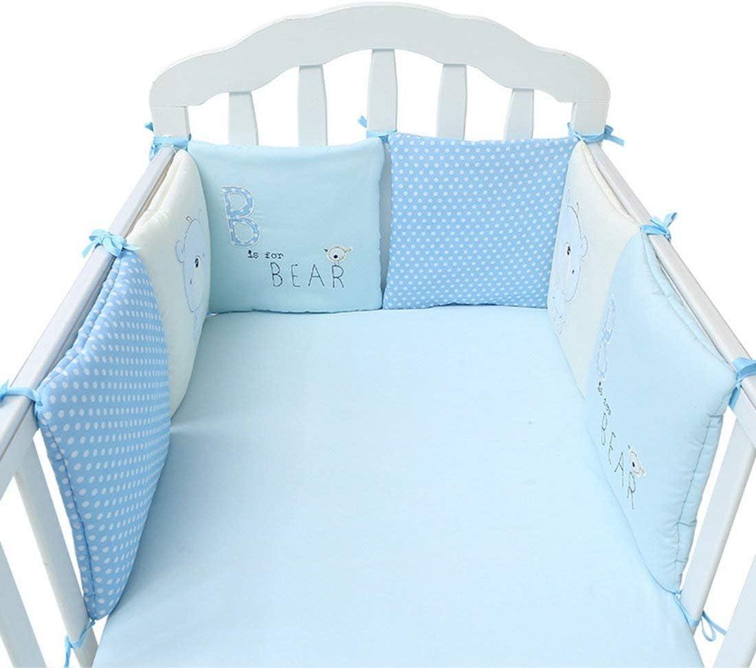 paracolpi lettino,Paracolpi letto cotone paracolpi 6 pezzi pi/ù sicuro set di biancheria da letto paracolpi