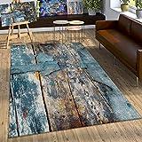 Paco Home Designer Teppich Bunte Holz Optik Hoch Tief Optik In Türkis Gelb Blau Meliert, Grösse:200x290 cm