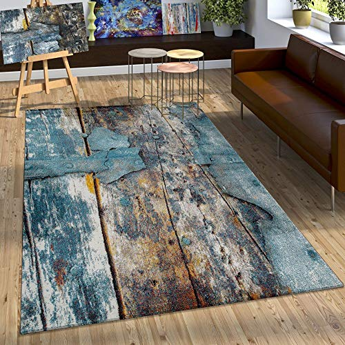Paco Home Designer Teppich Bunte Holz Optik Hoch Tief Optik In Türkis Gelb Blau Meliert, Grösse:120x170 cm