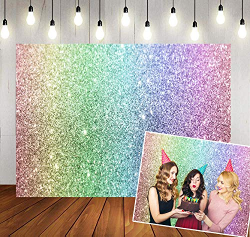 WOLADA Rainbow Backdrop for Birthday Glitter (No Sparkle) Photo Backdrops Sweet Women Girls Portrait Background Photography Props 11600 7x5ft