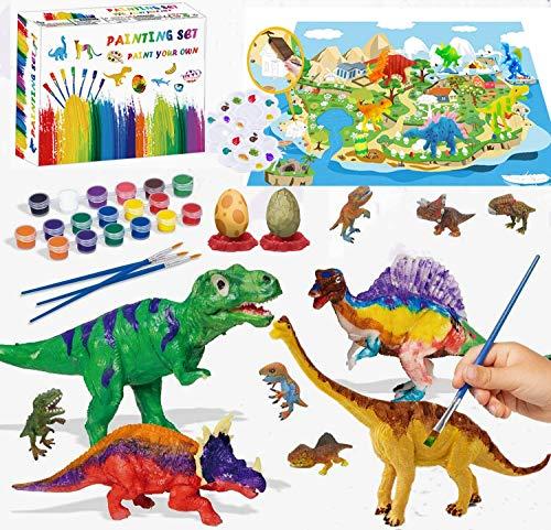 Felly Dinosauri Giocattolo per Bambini, 47 PCS Pittura Dinosauro Kit con 3D Figure di...
