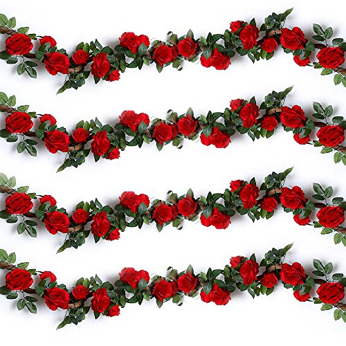 YILIYAJIA 4PCS(28.12 FT) Artificial Rose Vines Fake Silk Flowers Rose Garlands Hanging Rose Ivy Plants for Wedding Home Office Arch Arrangement Decoration(Red)