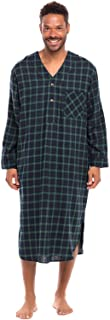 Men's Lightweight Flannel Sleep Shirt, Long Henley Nightshirt Pajamas
