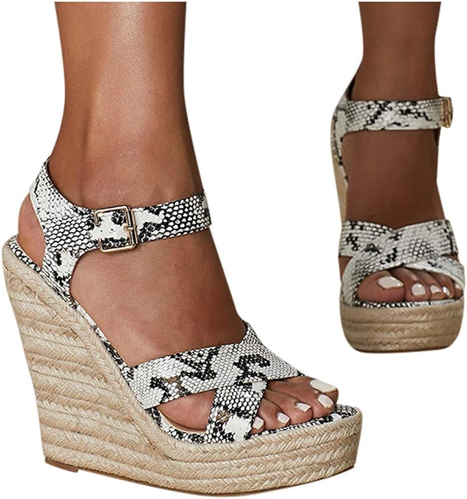 Sandals for Women Dressy 2021 Open Hemp Wedges Max 88% OFF Toe R Print Seasonal Wrap Introduction Snake