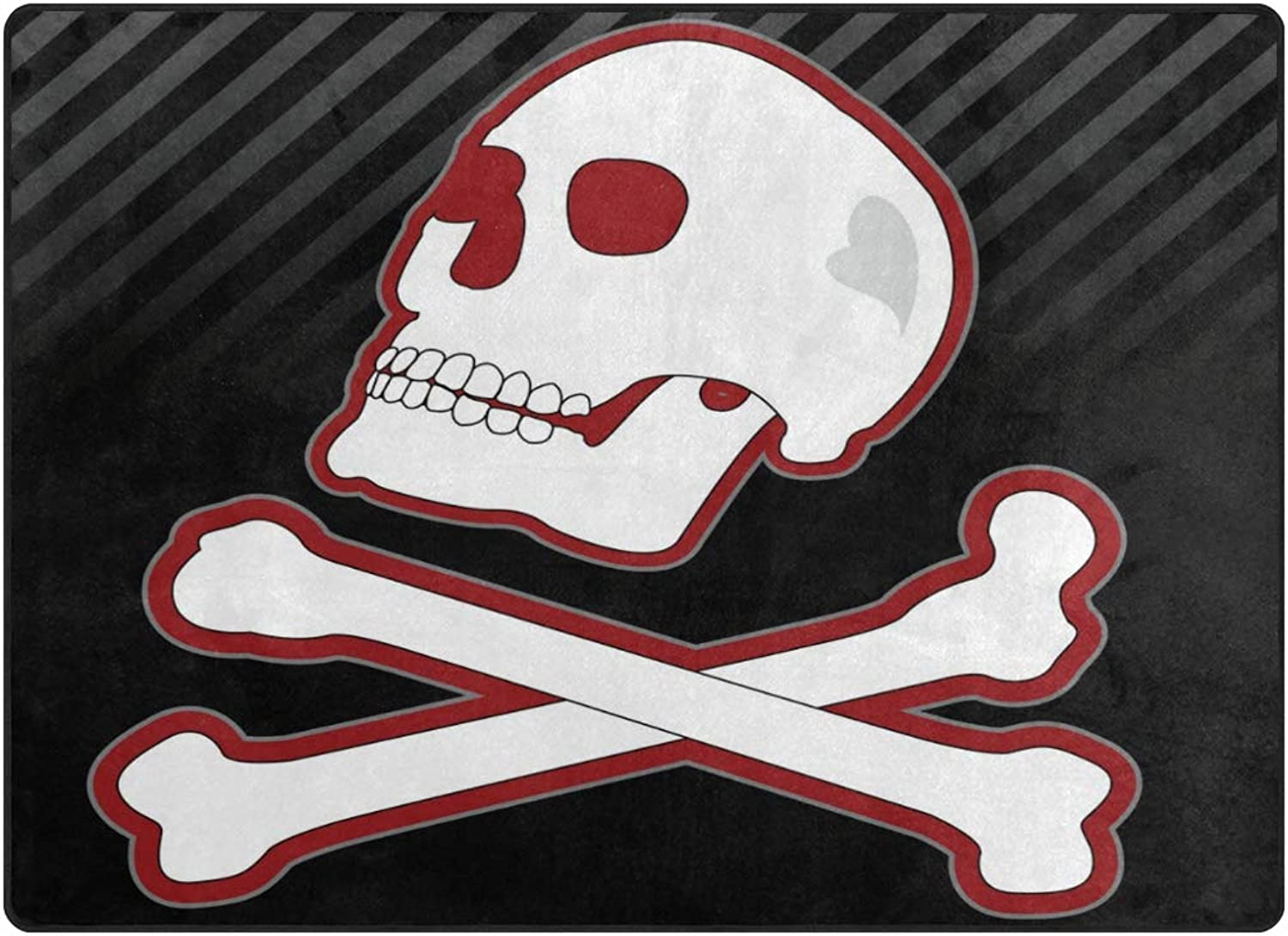 SUABO Halloween Area Rug 80 x 58 inches Non-Slip Floor Mat with Skull with Bone Printed Doormats