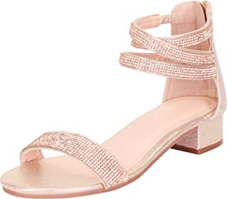 Women's Open Toe Single Band Crisscross Ankle Strappy Crystal Rhinestone Low Chunky Block Heel Dress Sandal
