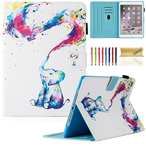 Dteck New iPad 9.7 inch 2017/2018 Case/iPad Air Case/iPad Air 2 Case - Multi-Angle Auto Wake/Sleep Folio Smart Cover Stand Wallet Case for New iPad 9.7 Inch 2017/2018, iPad Air 1 2, Cute Elephant