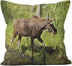 Nine City Large Moose Crossing River in Forest Throw Pillow Cushion Cover,HD Printing Decorative Square Accent Pillow Case,36