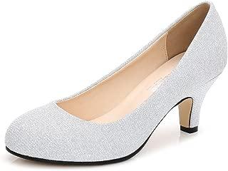 Women's Closed Round Toe Low Kitten Heel Slip On Dress Pump