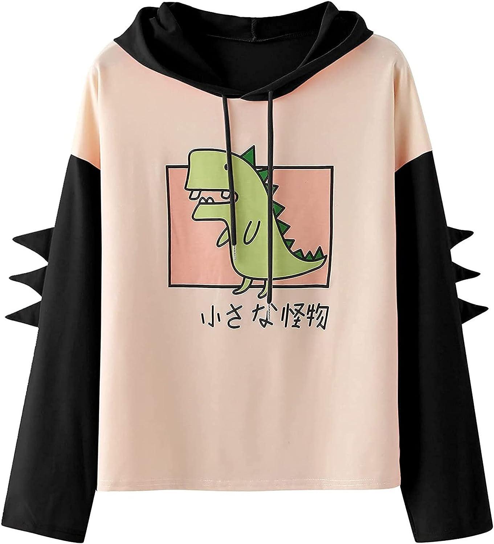 Womens Dinosaur Sweatshirt Long Sleeve Splice Sweater Shirt Tops Cartoon Cute Hoodies Teens Girls Casual Pullover