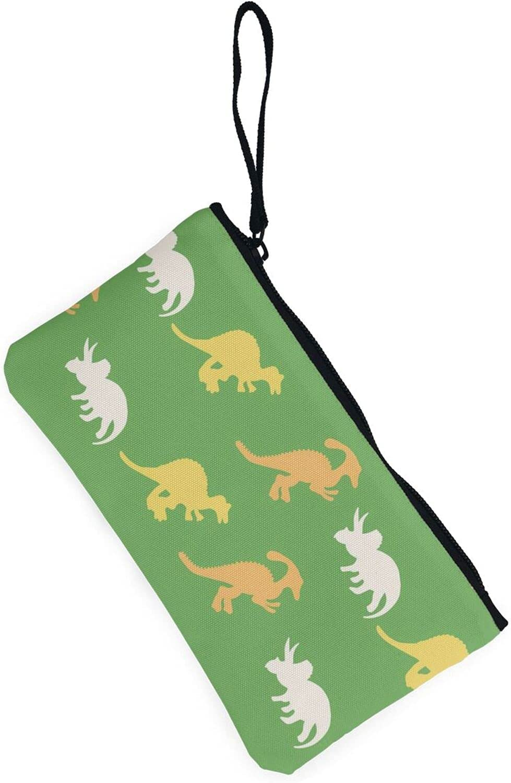 AORRUAM Green background with dinos Canvas Coin Purse,Canvas Zipper Pencil Cases,Canvas Change Purse Pouch Mini Wallet Coin Bag
