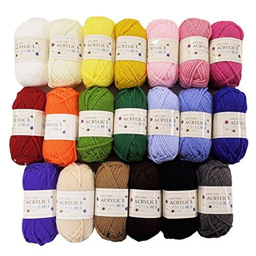 手芸のいとや 毛糸 アクリル毛糸 LADYBIRD ACRYLIC L アクリル極太 全20色セット 1玉約40g巻糸長53M アクリル100%